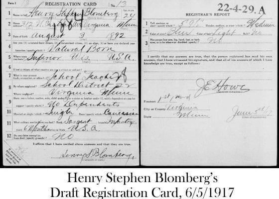 Henry Blomberg Draft Registration Card, dated June 5th 1917 (ExploreSuperior©)