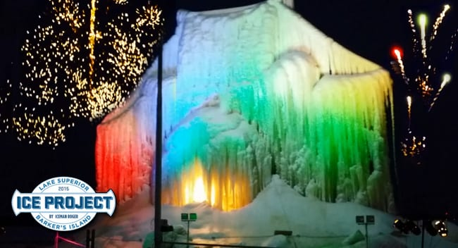 Lake Superior Ice Project Fireworks, Light & Sound Show