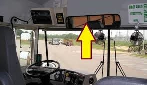 Take a Look & Reflect. This is one of the many mirrors a bus driver uses while operating a school bus.