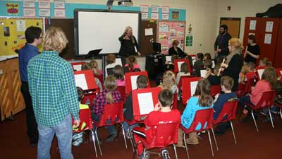 Lois Veenhoven Guderian and some of her UW-Superior students in the music classroom at Lake Superior Elementary School in Superior | Explore Superior