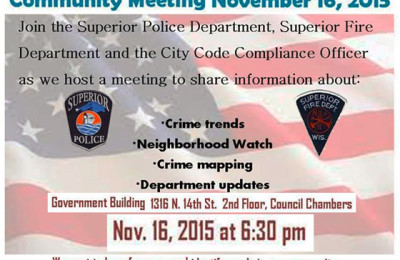 Community Meeting announced by Superior Police & Fire Depts | Explore Superior