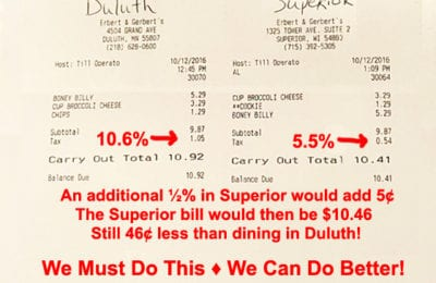 The Tale of Two Tickets: Comparative bills from Erbert & Gerberts | Explore Superior Better City Superior