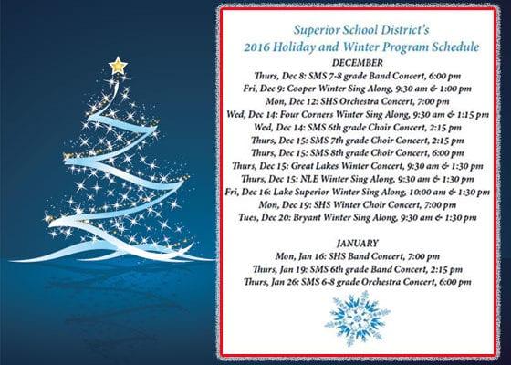 Superior Schools Holiday Program Schedule | Explore Superior