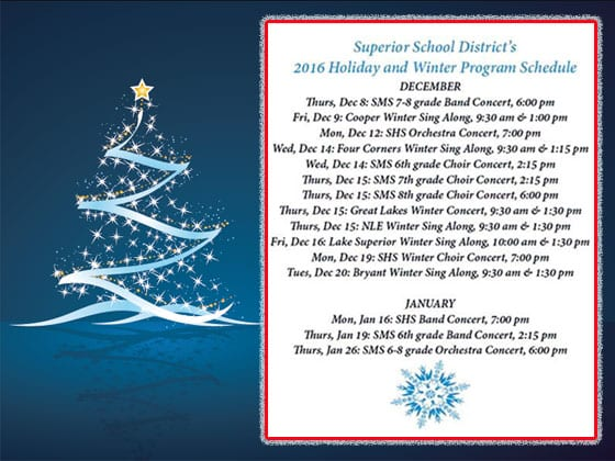 Superior Schools Holiday Program Schedule | Explore Superior