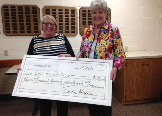 Tuula Harris (r),1966 class reunion organizer presented Nancy Pedersen (l), School District of Superior Scholarship Foundation Executive Director with a check for $11,700 at a recent Scholarship Board meeting. | Explore Superior