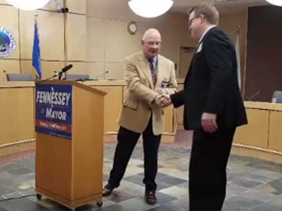 Mayor Bruce Hagen endorsed Brent Fennessey for mayor on March 23rd in Council Chambers